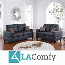 2 pcs black faux leather sofa loveseat set