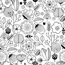 かわいい花のシームレスなパターン線形のグラフィック花柄背景です北欧