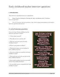 Common Teacher Interview Questions And Answers Preschool Teacher Interview Under Fontanacountryinn Com