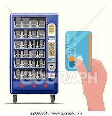 Vending Machine Credit Card Processing Extraordinary Vector Clipart Vending Machine And Hand With Credit Card Vector