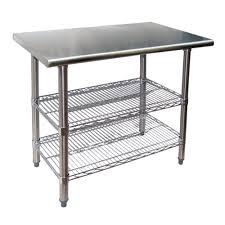 stainless steel work table w wire under shelves universal ts3036 36