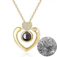 m mooham heart projection necklace 100 ages i love you double heart gold necklace for women