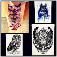 пикантные временные татуировки сова наклейки для женщин водонепроницаемый хна