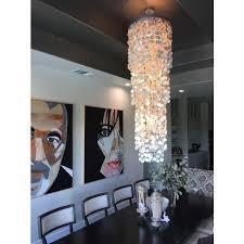 round king size chandelier with round capiz champagne