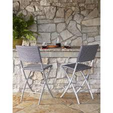 cosco delray transitional steel blue gray woven wicker high top folding patio bistro set