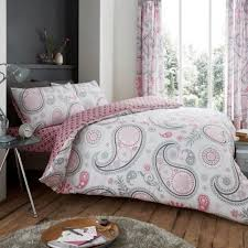 duvet cover with pillow case quilt cover bedding set new paisley grey pink