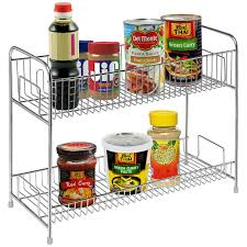 Tiered Shelves For Cabinets Amazoncom Stainless Steel 2 Tier Spice Jars Condiment Bottles