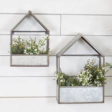 metal house shaped planters set of 2