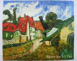 wall art village street in auvers by vincent van gogh paintings on canvas handmade high quality