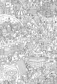 Free Coloring Page A Funny City