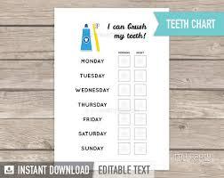 Teeth Cleaning Sticker Chart Teeth Brushing Chart Toddler Rewards Chart Brush Teeth