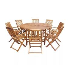 large wooden garden set round dining table 8 seater furniture folding chairs 9pc