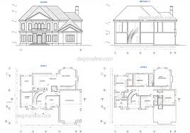 house plan two story plans dwg free cad blocks