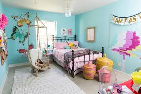 Fabulous Hanging Chair With Metal Bed Frame And Teal Wall Color For Kids  Bedroom Ideas