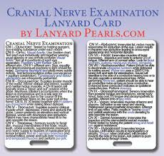 Cranial Nerve Examination Medical Nursing Lanyard Reference Badge Card