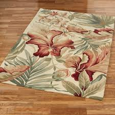 tropical area rugs paradise foliage rectangle rug ivory orange company contemporary fun and runners purple throw palm washable burdy fabulous large