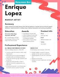 Makeup Artist Resume Samples Templates Pdfword 2019 Makeup