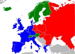 Западная Европа Википедия Европа в 1988 году Синим государства НАТО красным ОВД