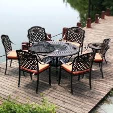 firepit table cast aluminum dining set w ice bucket table outdoor furniture fire pit table and