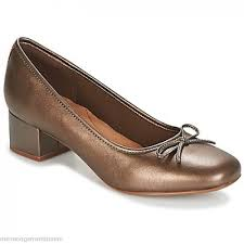 Clarks Chartli Daisy Pewter Leather Shoes Ballerinas