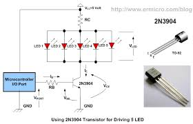 using transistor as a switch ermicroblog on the circuit above we are going to use 2n3904 the cheap general purpose transistor where you could easily found on your local market to drive 5 led from