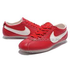 hot nike cortez leather women shoes dark red white
