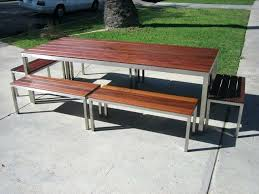 modern metal outdoor furniture photo. Modern Steel Furniture Custom Made And Wood Outdoor Table Benches Woo . Metal Photo