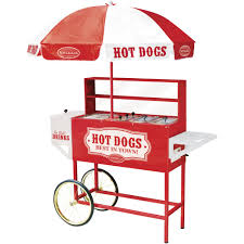 nostalgia hdc701 48 inch tall vintage series commercial hot dog cart with umbrella steamer roller grill cold drink chest com