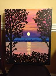 canvas painting sunset on the water