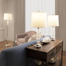 Living Room Lamp Sets Lavish Home Faceted Crystal 3 Piece Table And Floor Lamp Set Wayfair