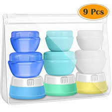 amazon selizo travel bottles conners silicone and plastic cream jars with tsa approved toiletry case for toiletries cosmetic makeup body hand cream