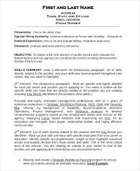 Federal Government Resume Format Custom Federal Resume Template 28 Free Word Excel PDF Format Download