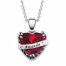 heart shaped simulated birthstone ribbon pendant in sterling silver 1 name and stone