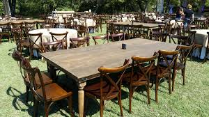 crossback chairs with king farm table outdoor
