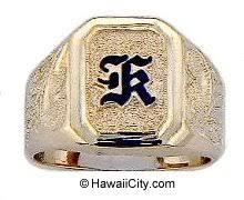 hawaiian custom raised enamel initial ring in 14k yellow gold