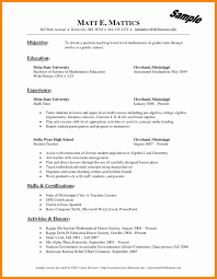 Math Teacher Resume Examples Free Mathematics Cv Doc Sample