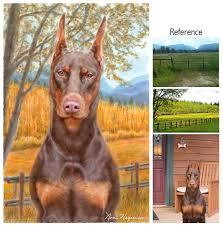 painting of a doberman pinscher portrait of a champion doberman in the montana fields she loved read how she was named after sarah ferguson the ss of