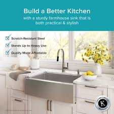 kraus 36 inch farmhouse double bowl stainless steel kitchen sink with noisedefend 8482 soundproofing