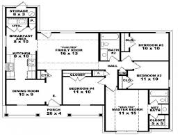 Four Bedroom Plan Single Story House Best Floor Plans Withal One Homes Lrg