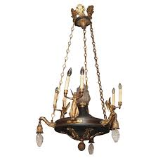antique french empire bronze and tole chandelier