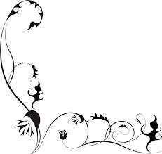 花のイラストフリー素材コーナーライン角 No131白黒茎葉