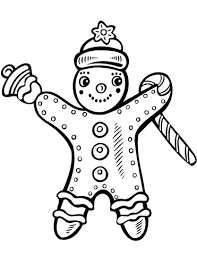 Christmas Gingerbread With Candy Cane And Bell Coloring Page Free