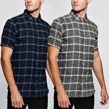 <b>men</b> short sleeve <b>plaid</b> check shirt slim fit casual <b>formal dress</b> shirt ...