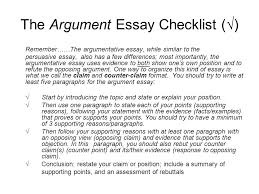 writing part argument writing ppt  the argument essay checklist √