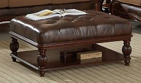 interior brown oversized leather ottoman coffee table expensive luxurious simple furniture modern