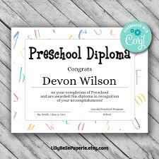 Editable Preschool Diploma Template Printable Certificate