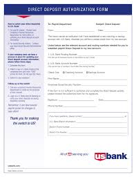 How To Fill Out Direct Deposit Form Free U S Bank Direct Deposit Authorization Form Pdf Eforms