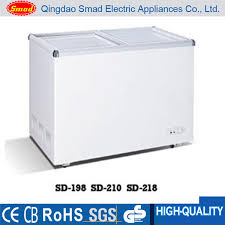 210l glass door chest freezer refrigerator