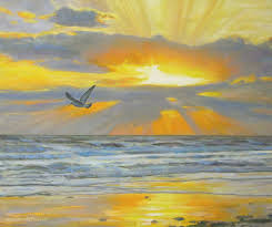 shine your light oil painting of sunset beach and seagull