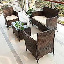 outdoor wicker patio furniture clearance. merax 4 pcs patio furniture set outdoor wicker garden with beige cushion (brown clearance m